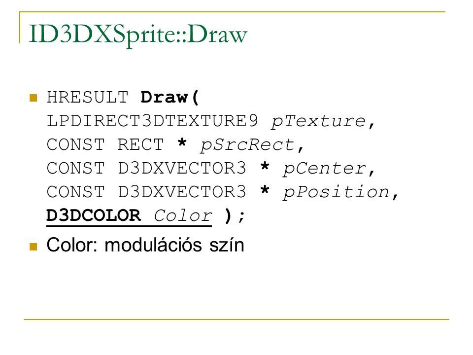 ID3DXSprite::Draw  HRESULT Draw( LPDIRECT3DTEXTURE9 pTexture, CONST RECT * pSrcRect, CONST D3DXVECTOR3 * pCenter, CONST D3DXVECTOR3 * pPosition, D3DCOLOR Color );  Color: modulációs szín