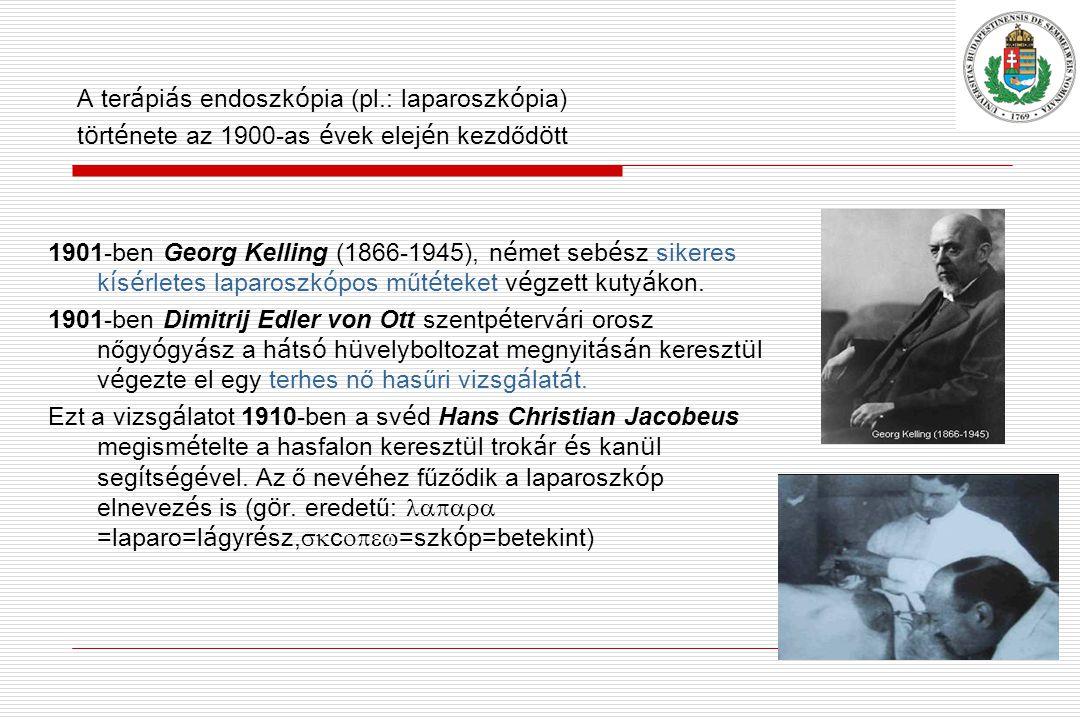 A ter á pi á s endoszk ó pia (pl.: laparoszk ó pia) t ö rt é nete az 1900-as é vek elej é n kezdőd ö tt 1901-ben Georg Kelling (1866-1945), n é met seb é sz sikeres k í s é rletes laparoszk ó pos műt é teket v é gzett kuty á kon.