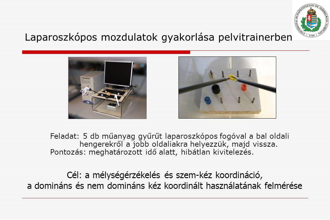 Laparoszkópos mozdulatok gyakorlása pelvitrainerben Feladat: 5 db műanyag gyűrűt laparoszkópos fogóval a bal oldali hengerekről a jobb oldaliakra helyezzük, majd vissza.