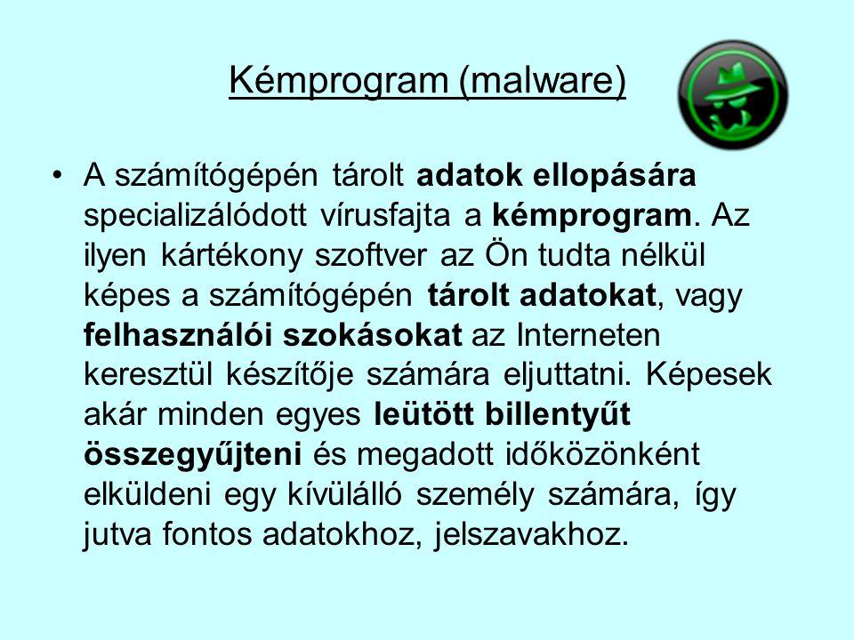 Kémprogram (malware) •A számítógépén tárolt adatok ellopására specializálódott vírusfajta a kémprogram. Az ilyen kártékony szoftver az Ön tudta nélkül