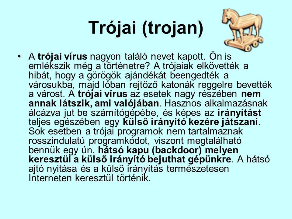 Trójai (trojan) •A trójai vírus nagyon találó nevet kapott. Ön is emlékszik még a történetre? A trójaiak elkövették a hibát, hogy a görögök ajándékát