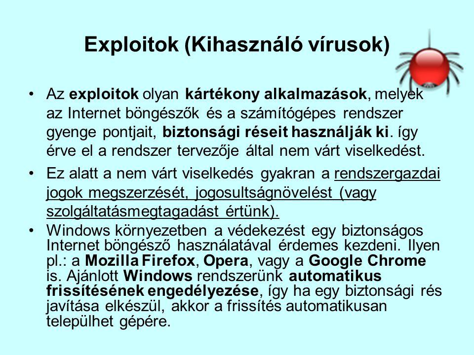 Exploitok (Kihasználó vírusok) •Az exploitok olyan kártékony alkalmazások, melyek az Internet böngészők és a számítógépes rendszer gyenge pontjait, bi