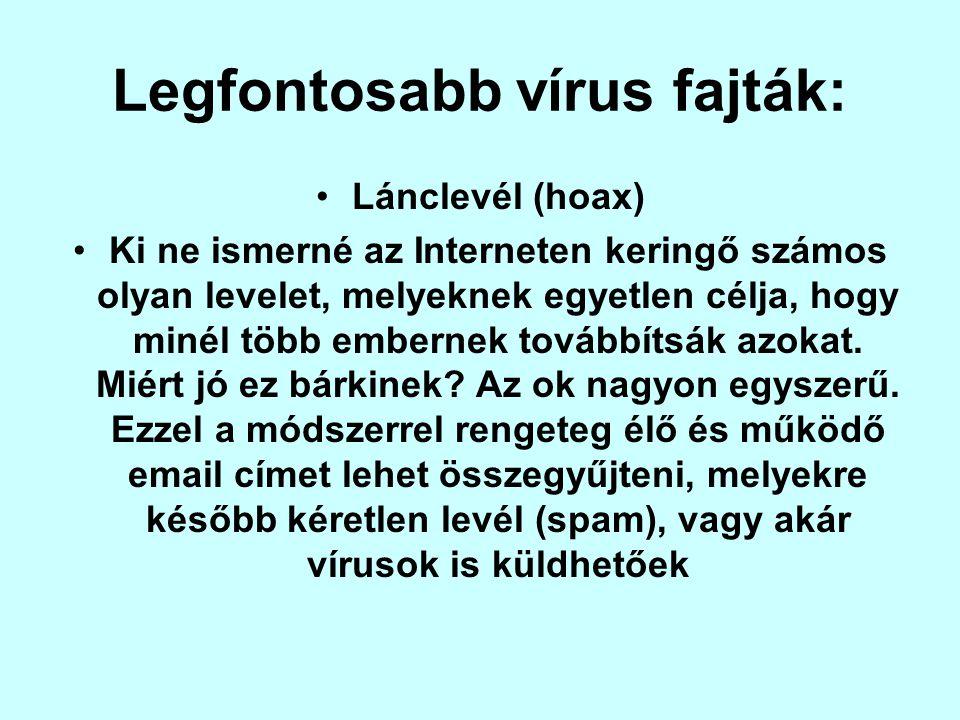 oKüldd tovább, pénzt kapsz valamelyik vállalattól pl.: AOL, INTEL, MICROSOFT oKüldd tovább, Bill Gates felosztja vagyonát (sokszor vegyítve az előzővel) oKüldd tovább, rákos kislány utolsó kívánsága (Legalább 10 éve rákos szegény kislány) oKüldd tovább, új vírus jelent meg (Napi több 100 új vírus jelenik meg, ezért az ilyen levelek teljesen értelmetlenek!) oKüldd tovább, notebookot nyersz (A legrégibb trükk, hogy valamit nyerni lehet.)