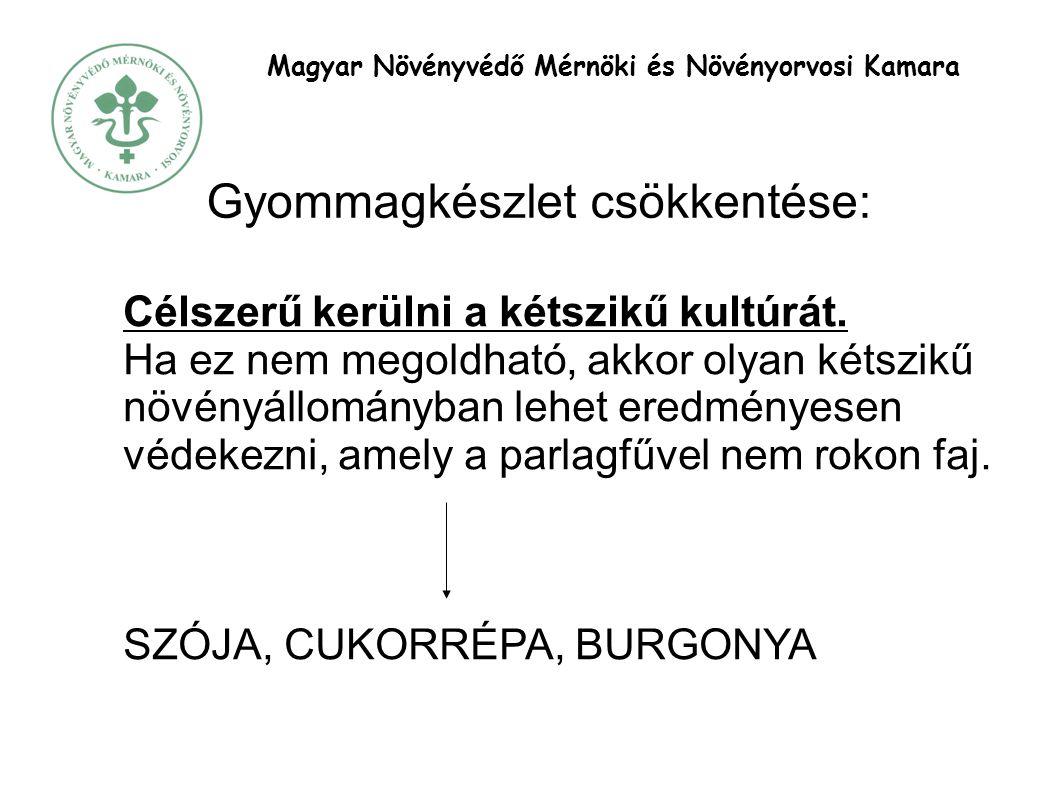 Magyar Növényvédő Mérnöki és Növényorvosi Kamara Gyommagkészlet csökkentése: Célszerű kerülni a kétszikű kultúrát.
