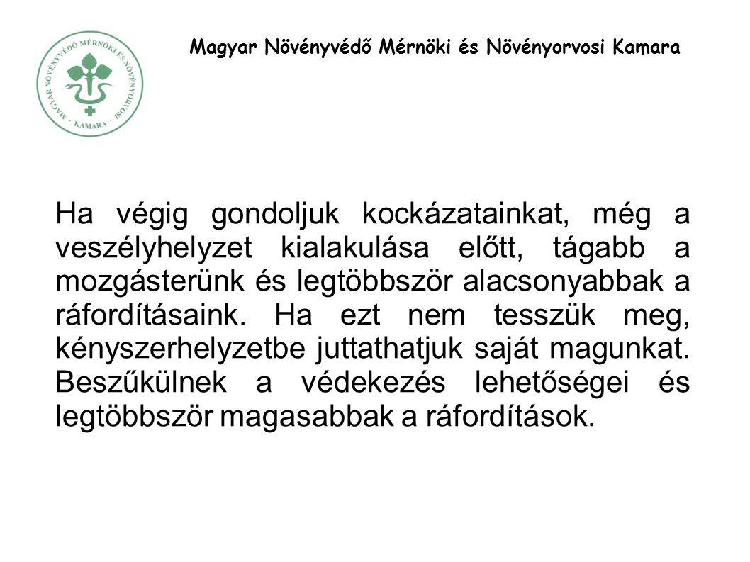 Magyar Növényvédő Mérnöki és Növényorvosi Kamara Ha végig gondoljuk kockázatainkat, még a veszélyhelyzet kialakulása előtt, tágabb a mozgásterünk és legtöbbször alacsonyabbak a ráfordításaink.