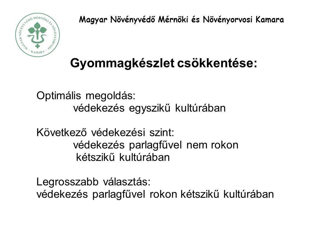 Magyar Növényvédő Mérnöki és Növényorvosi Kamara Gyommagkészlet csökkentése: Optimális megoldás: védekezés egyszikű kultúrában Következő védekezési szint: védekezés parlagfűvel nem rokon kétszikű kultúrában Legrosszabb választás: védekezés parlagfűvel rokon kétszikű kultúrában