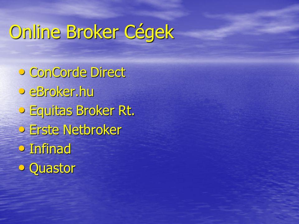 Online Broker Cégek • ConCorde Direct • eBroker.hu • Equitas Broker Rt. • Erste Netbroker • Infinad • Quastor