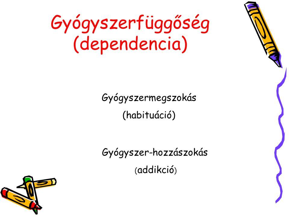 Gyógyszerfüggőség (dependencia) Gyógyszermegszokás (habituáció) Gyógyszer-hozzászokás ( addikció )