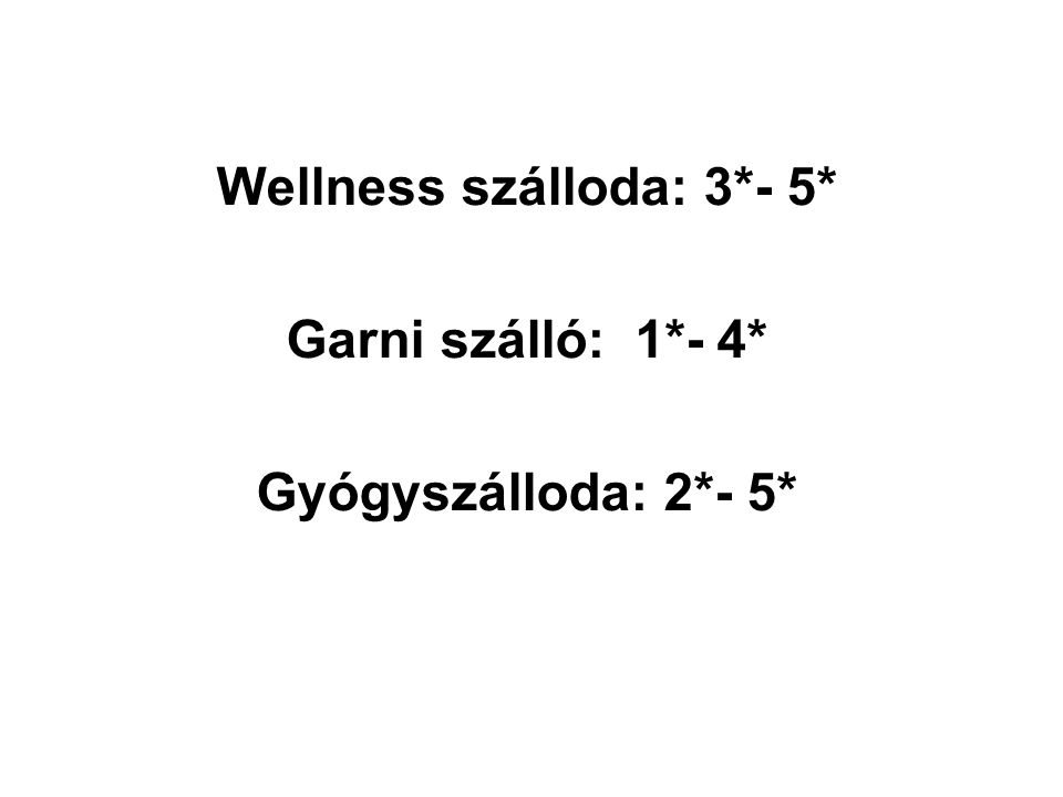 Wellness szálloda: 3*- 5* Garni szálló: 1*- 4* Gyógyszálloda: 2*- 5*