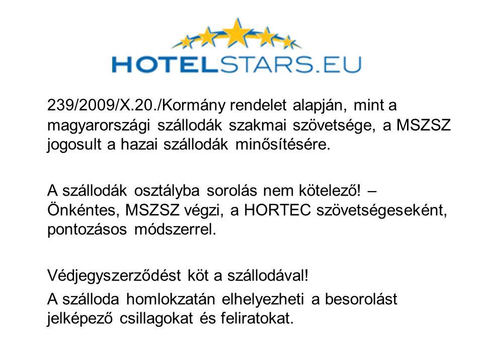 239/2009/X.20./Kormány rendelet alapján, mint a magyarországi szállodák szakmai szövetsége, a MSZSZ jogosult a hazai szállodák minősítésére.