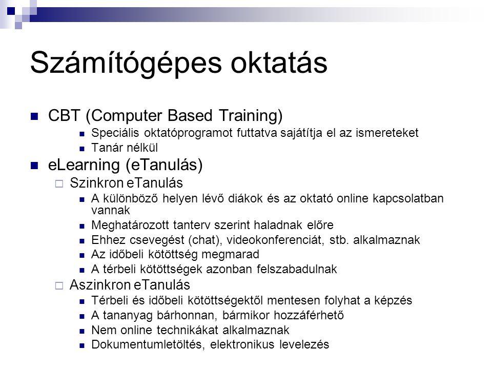 Számítógépes oktatás  CBT (Computer Based Training)  Speciális oktatóprogramot futtatva sajátítja el az ismereteket  Tanár nélkül  eLearning (eTan