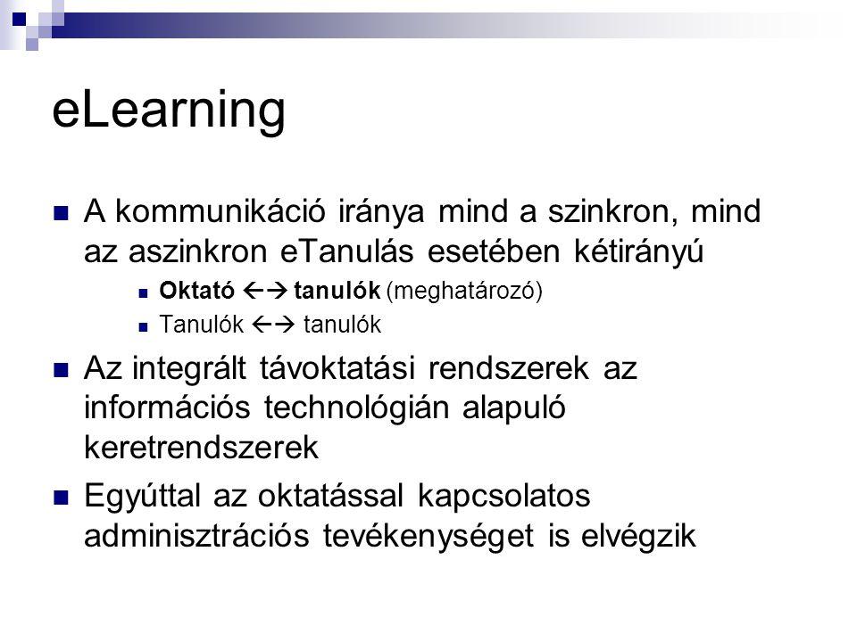 eLearning  A kommunikáció iránya mind a szinkron, mind az aszinkron eTanulás esetében kétirányú  Oktató  tanulók (meghatározó)  Tanulók  tanuló