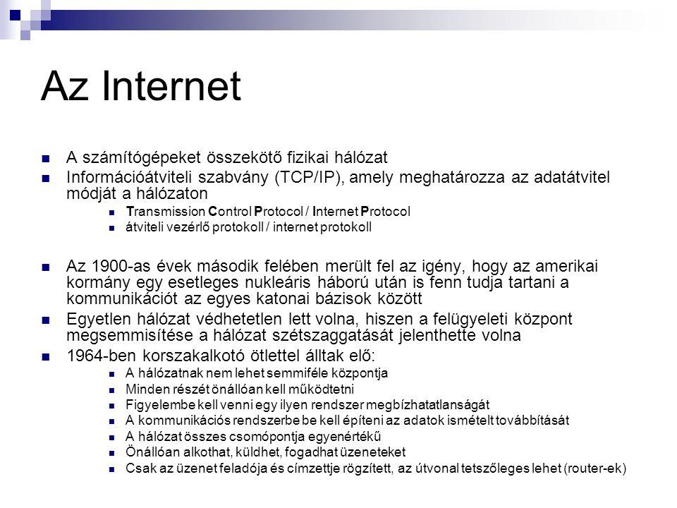 Az Internet  A számítógépeket összekötő fizikai hálózat  Információátviteli szabvány (TCP/IP), amely meghatározza az adatátvitel módját a hálózaton