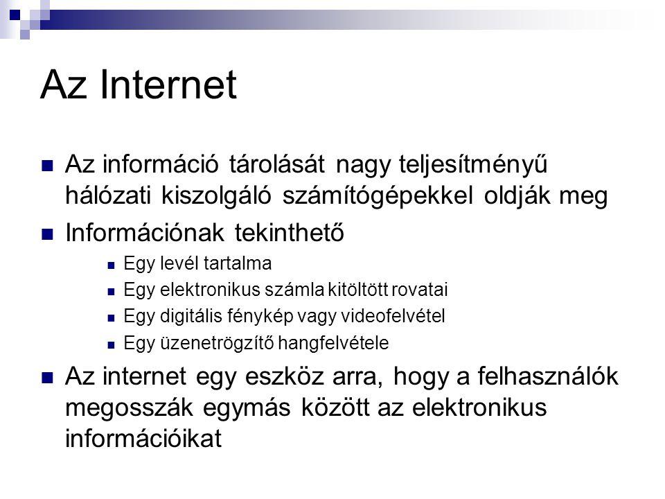 Az Internet  Az információ tárolását nagy teljesítményű hálózati kiszolgáló számítógépekkel oldják meg  Információnak tekinthető  Egy levél tartalm