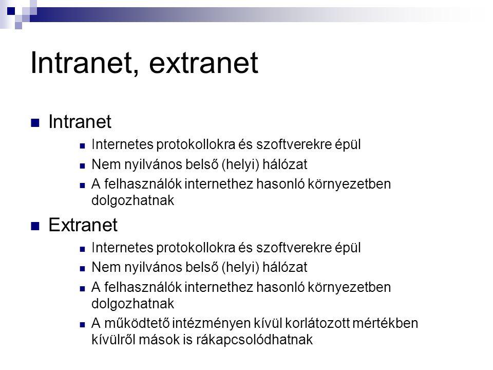 Intranet, extranet  Intranet  Internetes protokollokra és szoftverekre épül  Nem nyilvános belső (helyi) hálózat  A felhasználók internethez hason