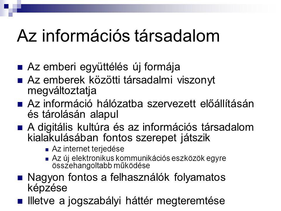 Információs hálózatok  A klasszikus hálózat egy központi számítógépből (szerver) és a hozzá kapcsolódó munkaállomásokból áll  Szerver  A számítógép-hálózat központi számítógépe  Funkciója a hálózaton lévő számítógépek kiszolgálása  Adatok központi tárolása  Különféle szolgáltatások nyújtása  Munkaállomás  Személyi számítógép  A programok futtatása és az adatok feldolgozása a saját gépünk feladata  A szervert többnyire csak adattárolás céljából használjuk  Terminál  Csak képernyőből és billentyűzetből áll  Lehetővé teszi, hogy a szerverrel kommunikáljunk  Alapestben nincs benne saját háttértár, sem CPU  Önálló munkavégzésre alkalmatlan  Csak utasítások továbbítására és eredmények megjelenítésére használható  A programok futtatása és az adatok feldolgozása a szerveren történik  Személyi számítógép is használható terminálként terminálemulációs program segítségével