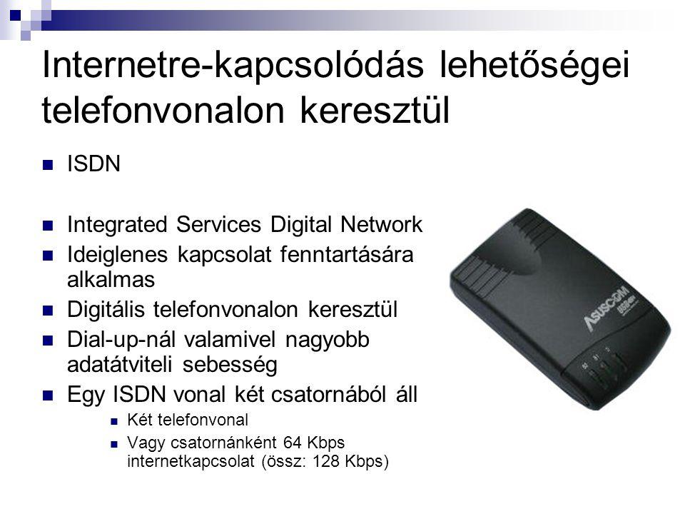 Internetre-kapcsolódás lehetőségei telefonvonalon keresztül  ADSL  Asymmetric Digital Subscriber Line  A hagyományos analóg telefonvonal digitális vonallá alakítható  Aszimmetrikus, vagyis az adatkommunikáció két irányának (feltöltés, letöltés) sebessége eltérő  Adatátviteli sebessége akár 8 Mbps