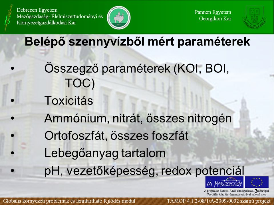 3 Belépő szennyvízből mért paraméterek • Összegző paraméterek (KOI, BOI, TOC) • Toxicitás • Ammónium, nitrát, összes nitrogén • Ortofoszfát, összes foszfát • Lebegőanyag tartalom • pH, vezetőképesség, redox potenciál