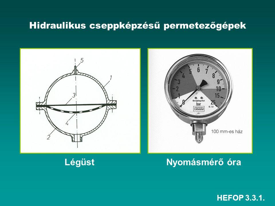 HEFOP 3.3.1. Hidraulikus cseppképzésű permetezőgépek LégüstNyomásmérő óra