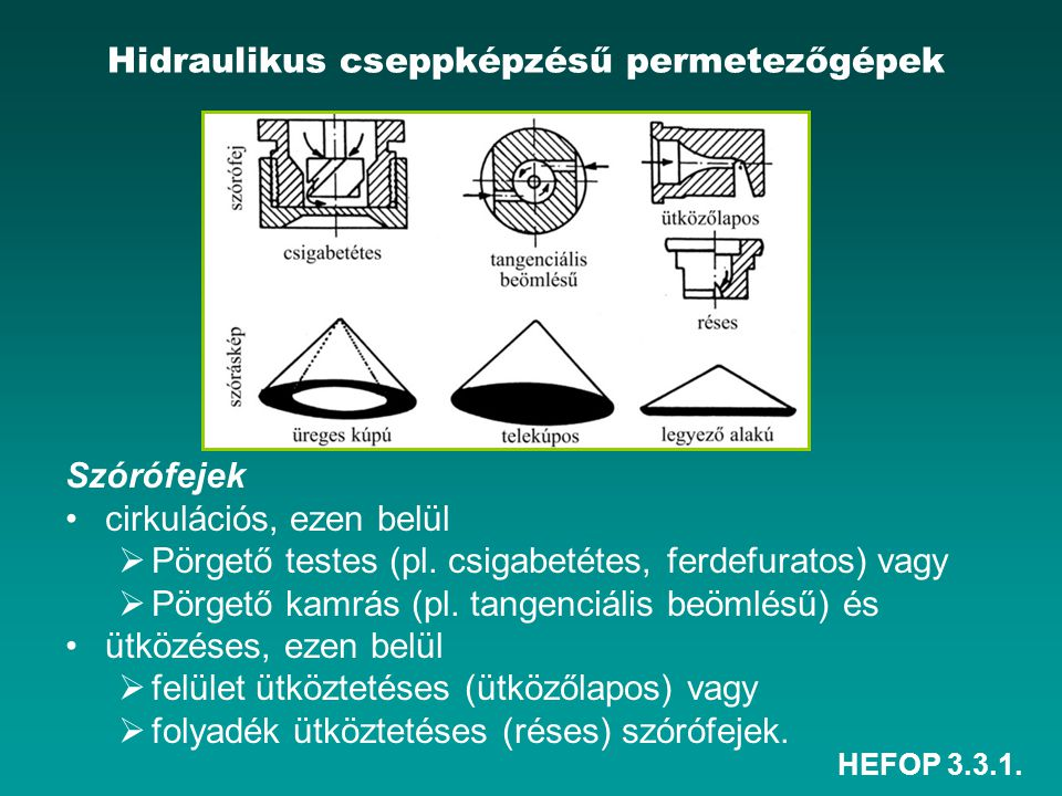 HEFOP 3.3.1. Hidraulikus cseppképzésű permetezőgépek Szórófejek •cirkulációs, ezen belül  Pörgető testes (pl. csigabetétes, ferdefuratos) vagy  Pörg