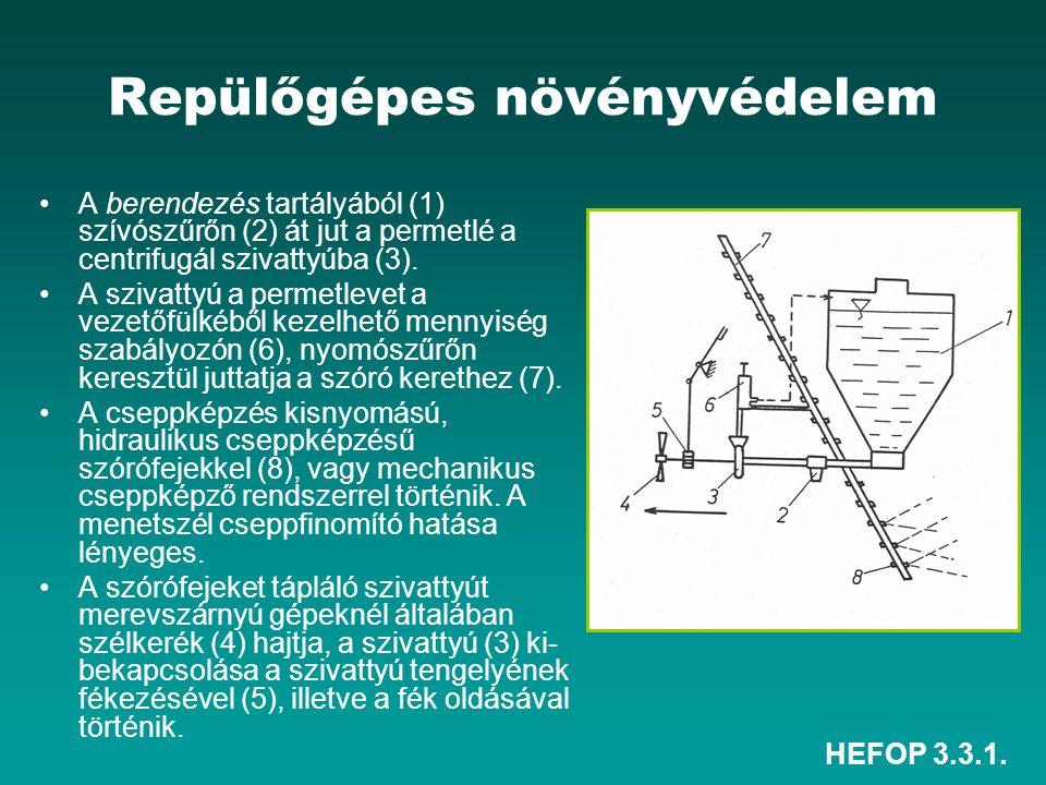 HEFOP 3.3.1. Repülőgépes növényvédelem •A berendezés tartályából (1) szívószűrőn (2) át jut a permetlé a centrifugál szivattyúba (3). •A szivattyú a p
