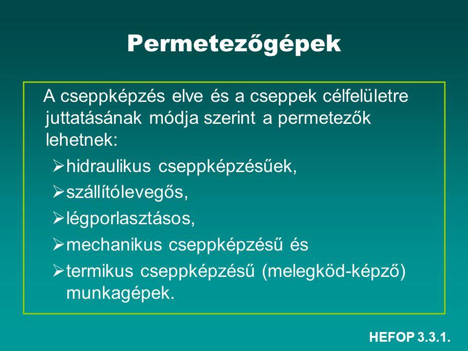 HEFOP 3.3.1. Permetezőgépek A cseppképzés elve és a cseppek célfelületre juttatásának módja szerint a permetezők lehetnek:  hidraulikus cseppképzésűe