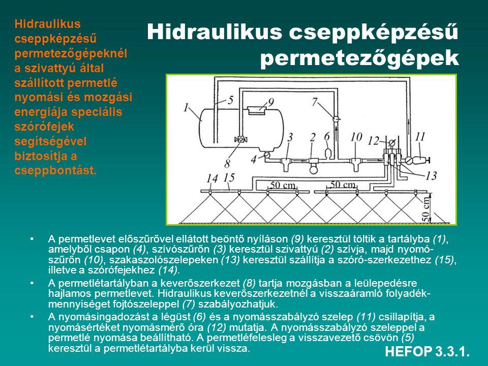 HEFOP 3.3.1. Hidraulikus cseppképzésű permetezőgépek •A permetlevet előszűrővel ellátott beöntő nyíláson (9) keresztül töltik a tartályba (1), amelybő