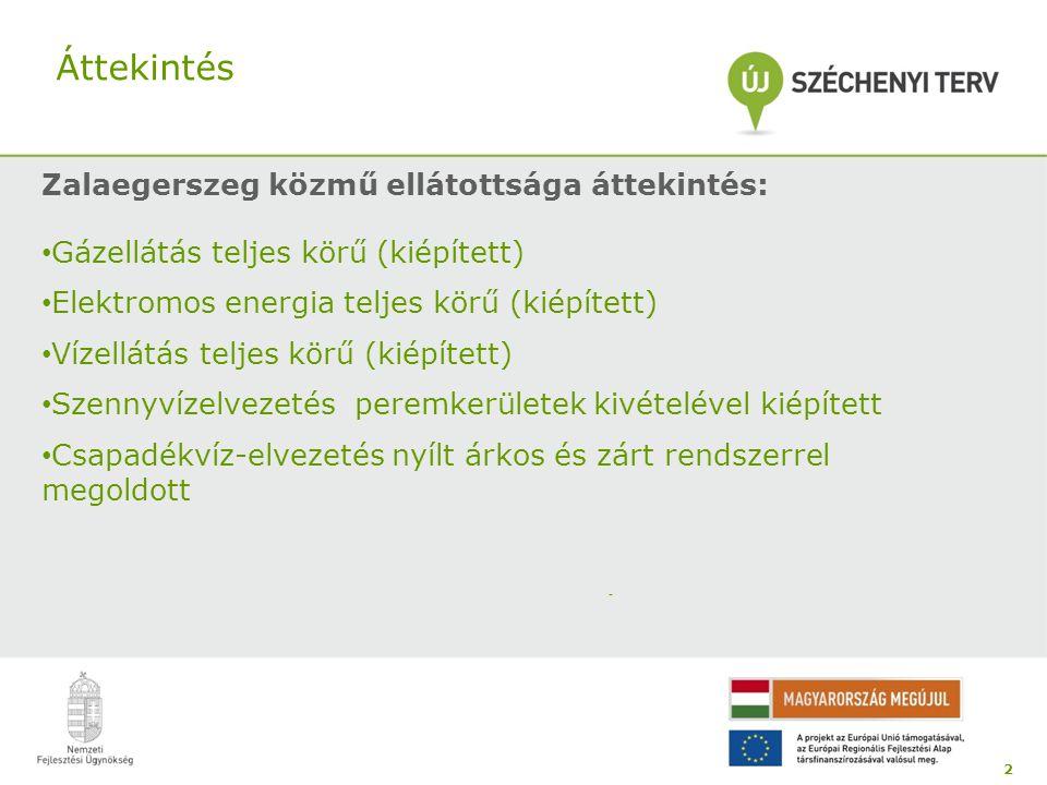 Áttekintés Zalaegerszeg közmű ellátottsága áttekintés: • Gázellátás teljes körű (kiépített) • Elektromos energia teljes körű (kiépített) • Vízellátás