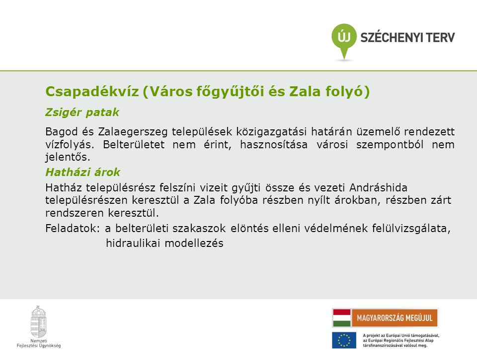 Csapadékvíz (Város főgyűjtői és Zala folyó) Zsigér patak Bagod és Zalaegerszeg települések közigazgatási határán üzemelő rendezett vízfolyás. Belterül