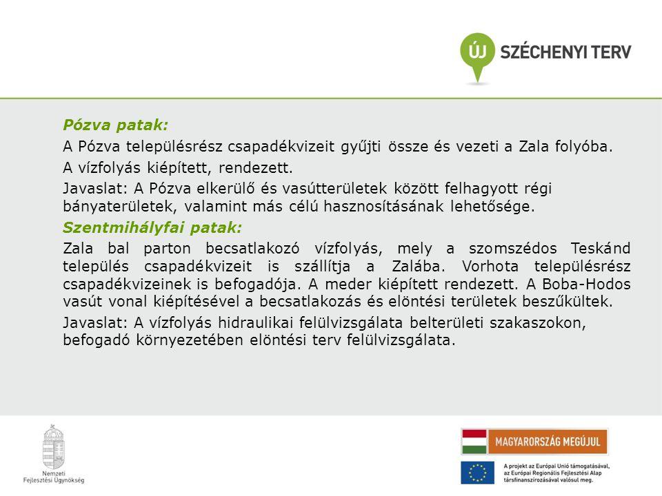 Vizslaréti árok: Zalaegerszeg legnagyobb belterületi vízgyűjtőjével rendelkező vízfolyása.