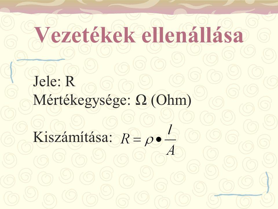 Vezetékek ellenállása Jele: R Mértékegysége: Ω (Ohm) Kiszámítása: