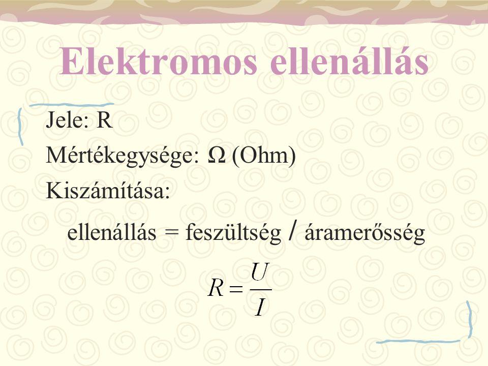Elektromos ellenállás Jele: R Mértékegysége: Ω (Ohm) Kiszámítása: ellenállás = feszültség / áramerősség