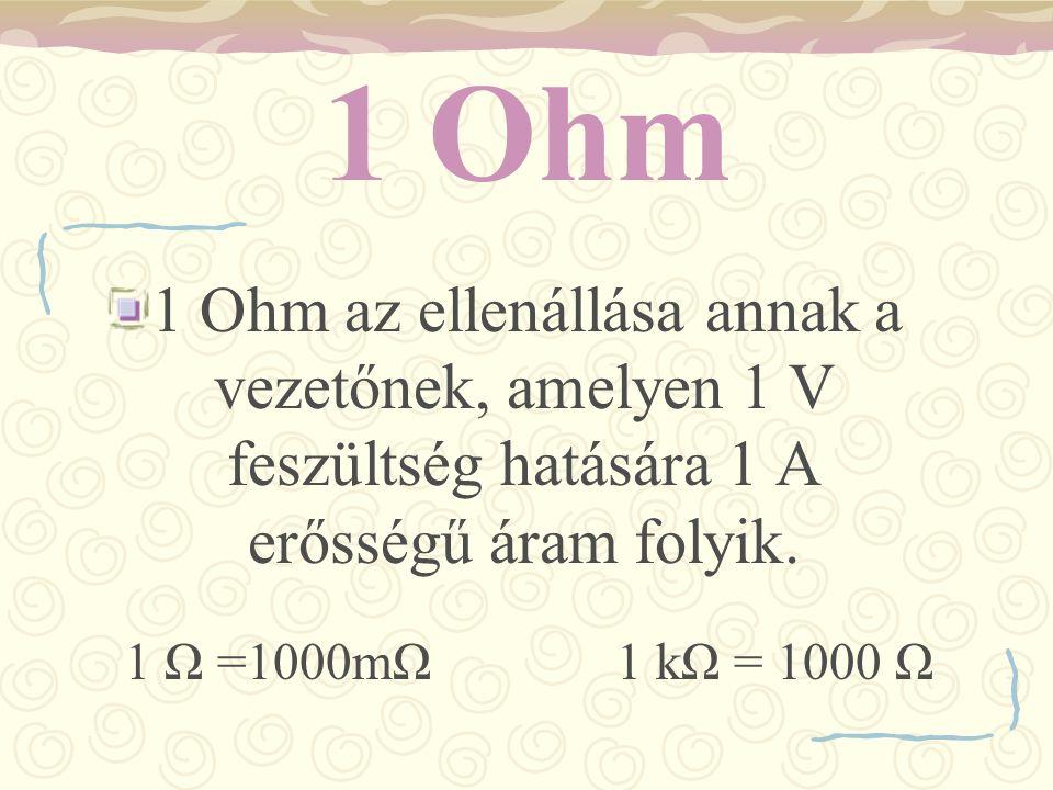 1 Ohm 1 Ohm az ellenállása annak a vezetőnek, amelyen 1 V feszültség hatására 1 A erősségű áram folyik. 1 Ω =1000mΩ 1 kΩ = 1000 Ω
