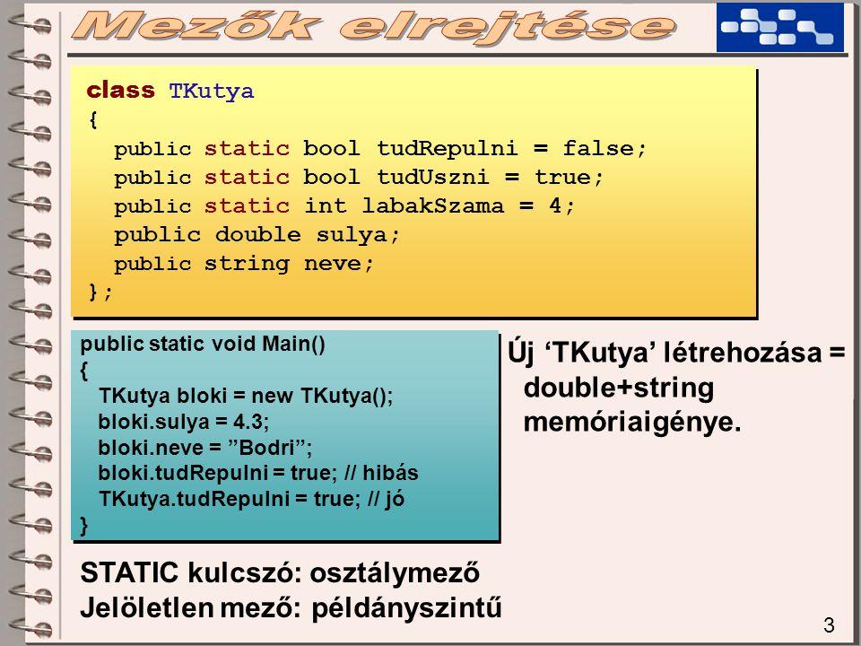 3 class TKutya { public static bool tudRepulni = false; public static bool tudUszni = true; public static int labakSzama = 4; public double sulya; public string neve; }; public static void Main() { TKutya bloki = new TKutya(); bloki.sulya = 4.3; bloki.neve = Bodri ; bloki.tudRepulni = true; // hibás TKutya.tudRepulni = true; // jó } public static void Main() { TKutya bloki = new TKutya(); bloki.sulya = 4.3; bloki.neve = Bodri ; bloki.tudRepulni = true; // hibás TKutya.tudRepulni = true; // jó } STATIC kulcszó: osztálymező Jelöletlen mező: példányszintű Új 'TKutya' létrehozása = double+string memóriaigénye.