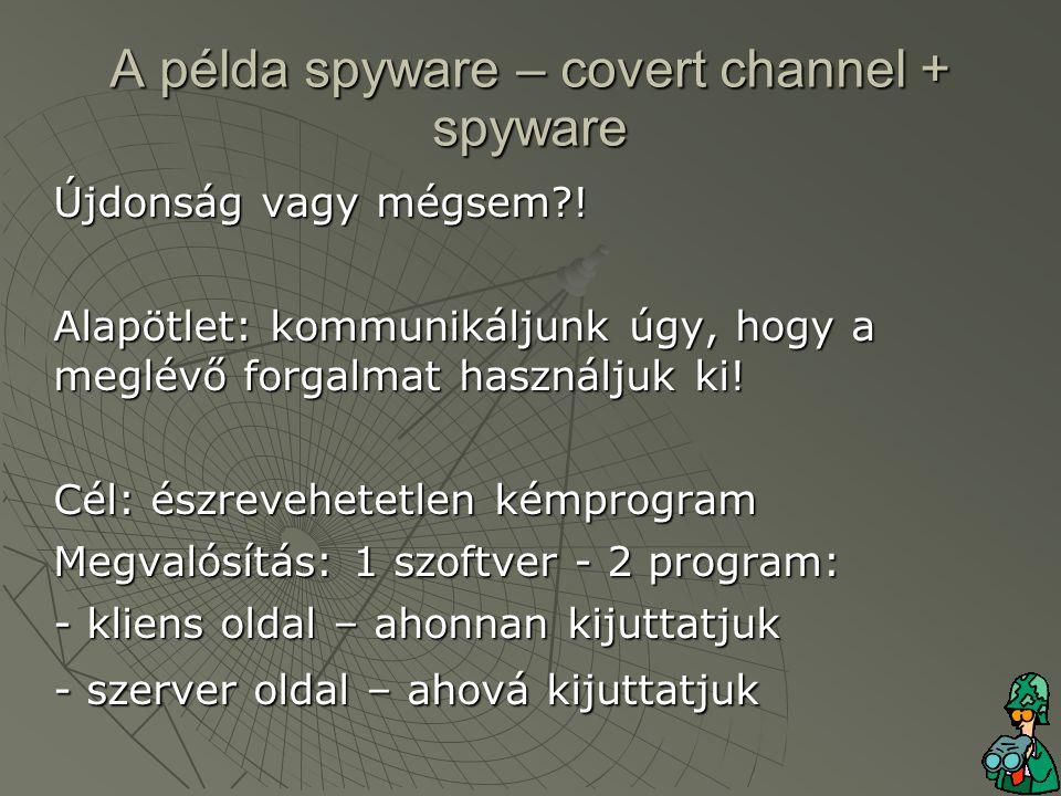 A példa spyware – covert channel + spyware Újdonság vagy mégsem .