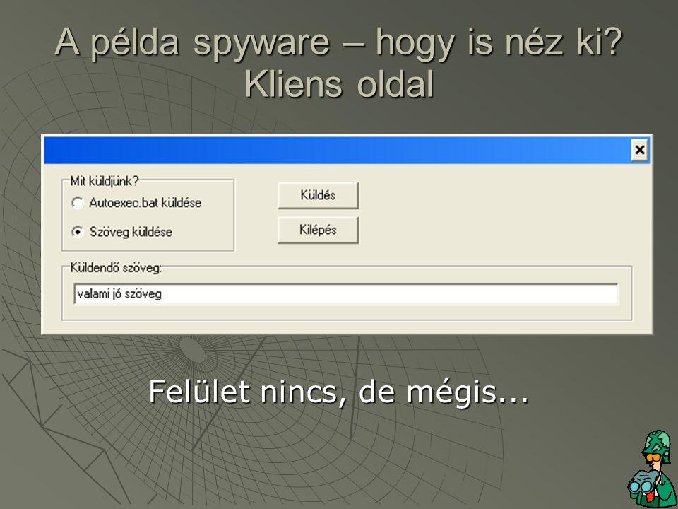 A példa spyware – hogy is néz ki Kliens oldal Felület nincs, de mégis...