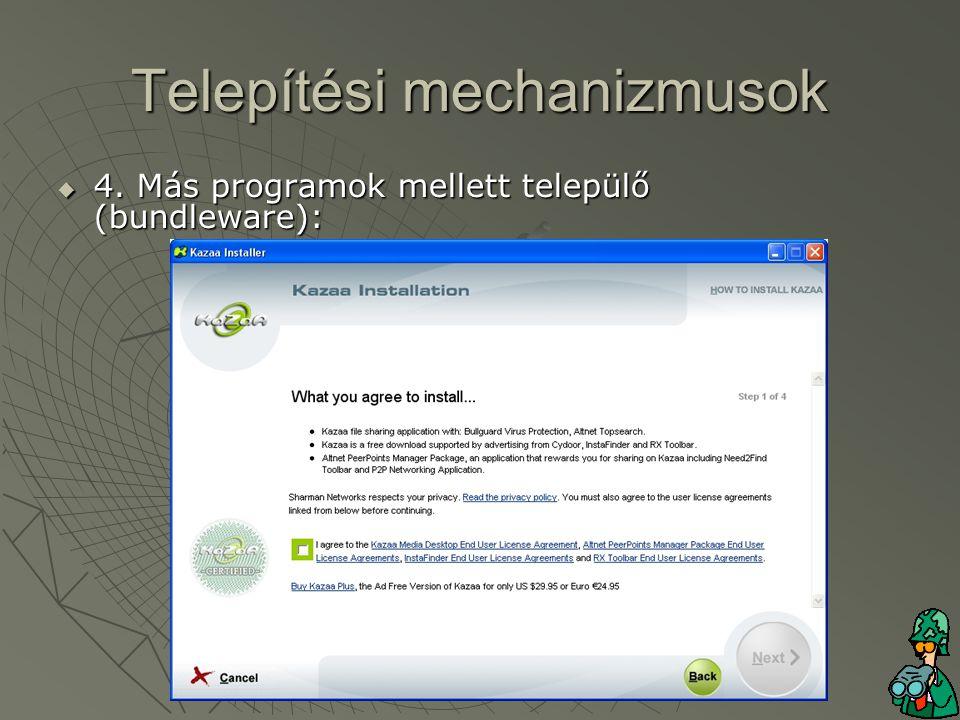 Telepítési mechanizmusok  4. Más programok mellett települő (bundleware):
