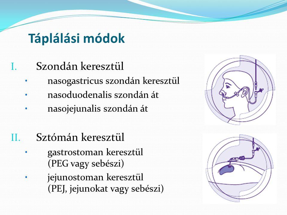 Táplálási módok I. Szondán keresztül • nasogastricus szondán keresztül • nasoduodenalis szondán át • nasojejunalis szondán át II. Sztómán keresztül •