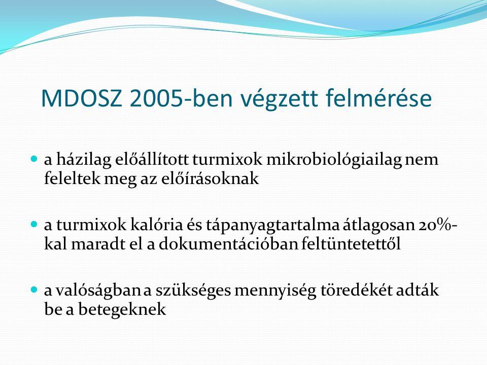 MDOSZ 2005-ben végzett felmérése  a házilag előállított turmixok mikrobiológiailag nem feleltek meg az előírásoknak  a turmixok kalória és tápanyagt