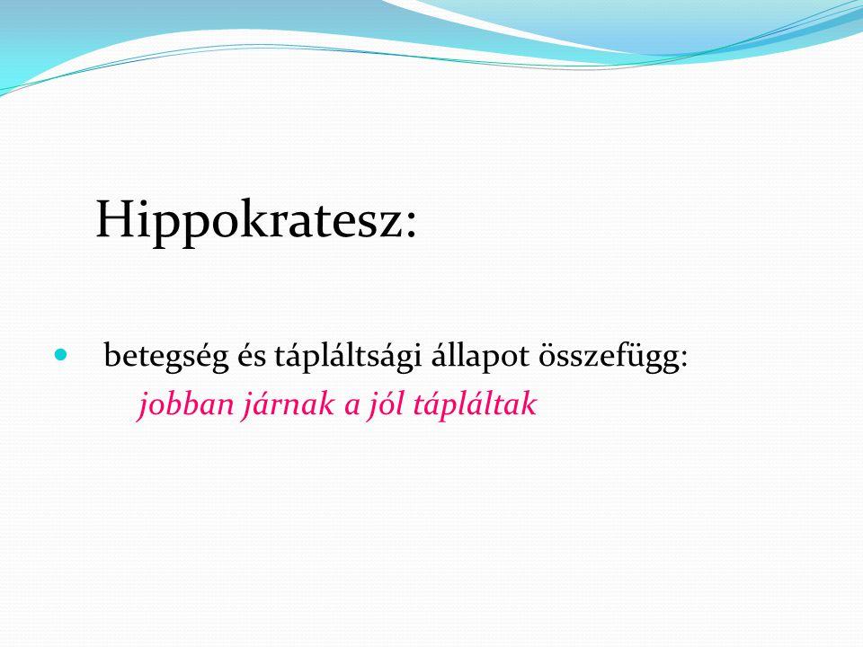 Hippokratesz:  betegség és tápláltsági állapot összefügg: jobban járnak a jól tápláltak
