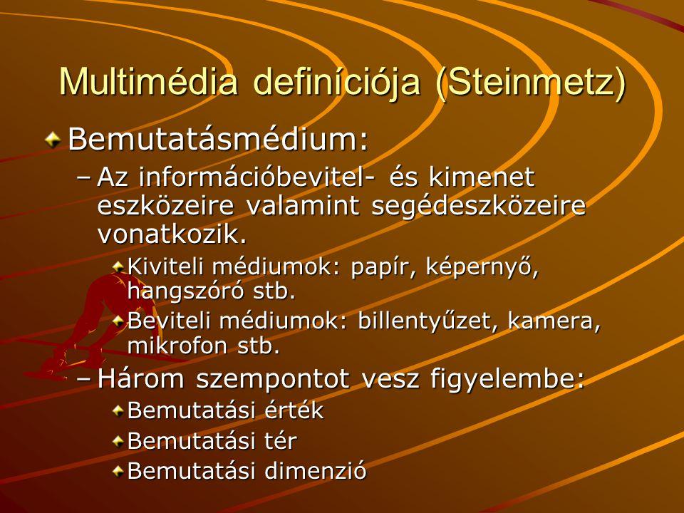 Multimédia definíciója (Steinmetz) Bemutatásmédium: –Az információbevitel- és kimenet eszközeire valamint segédeszközeire vonatkozik. Kiviteli médiumo