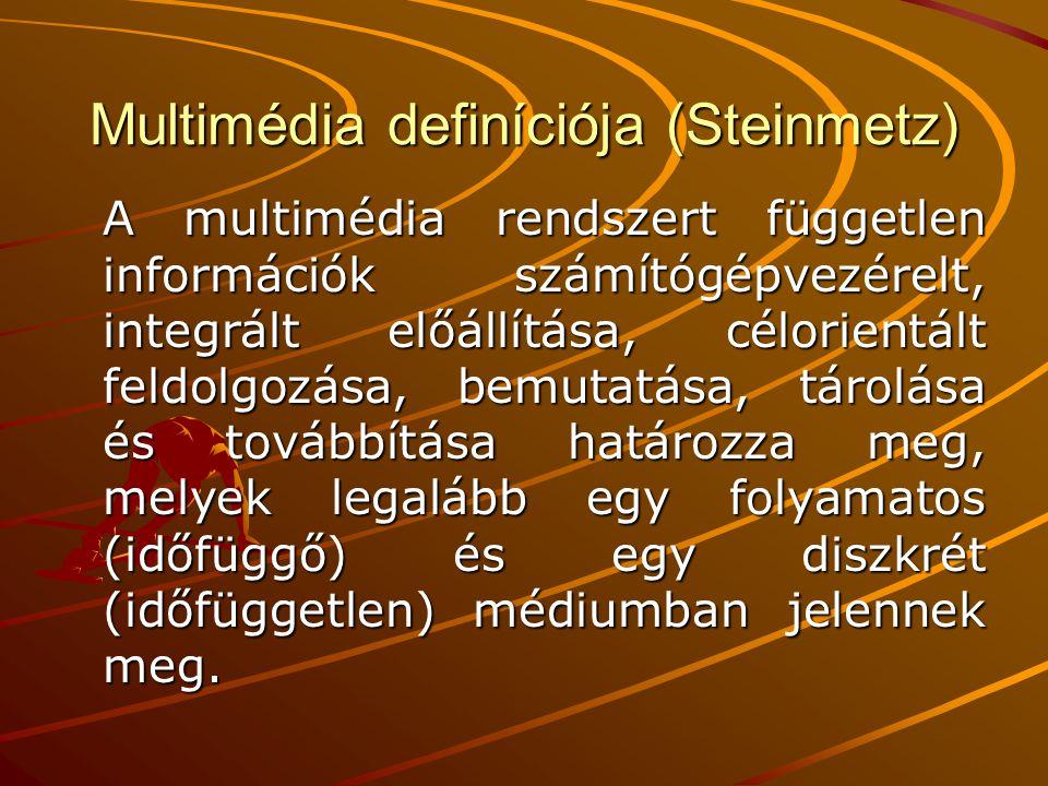 Multimédia definíciója (Steinmetz) A multimédia rendszert független információk számítógépvezérelt, integrált előállítása, célorientált feldolgozása,