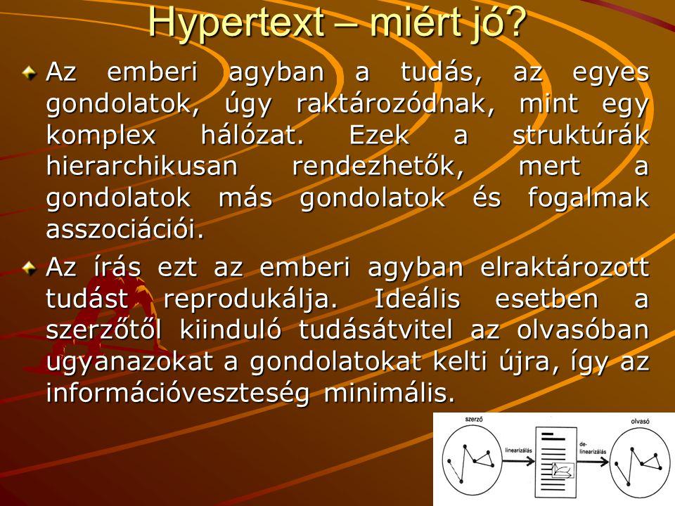 Hypertext – miért jó? Az emberi agyban a tudás, az egyes gondolatok, úgy raktározódnak, mint egy komplex hálózat. Ezek a struktúrák hierarchikusan ren