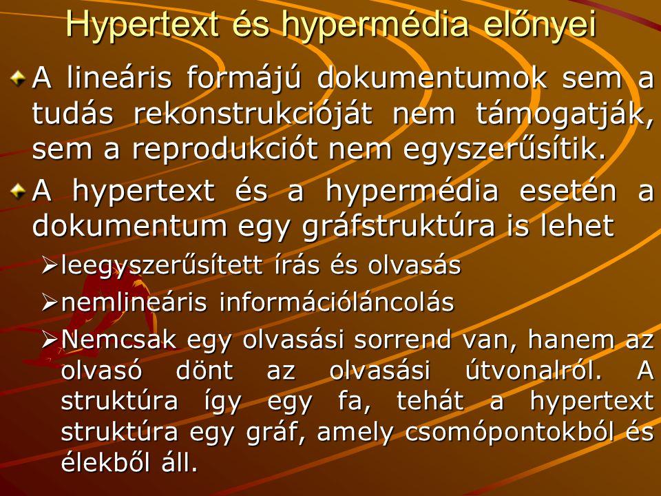 Hypertext és hypermédia előnyei A lineáris formájú dokumentumok sem a tudás rekonstrukcióját nem támogatják, sem a reprodukciót nem egyszerűsítik. A h