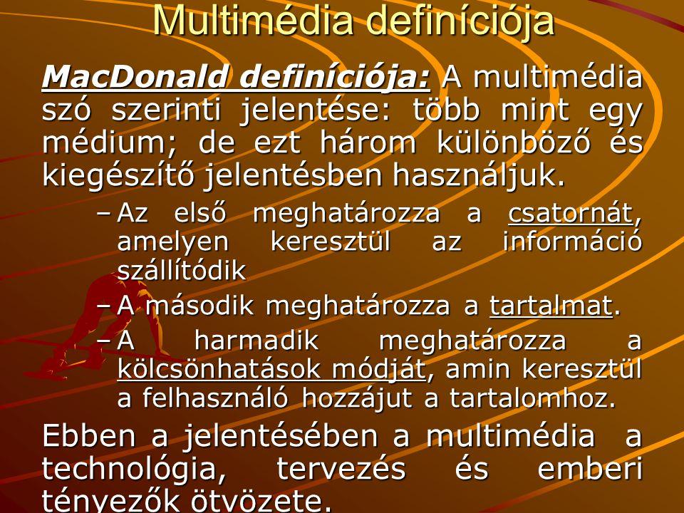 Multimédia definíciója MacDonald definíciója: A multimédia szó szerinti jelentése: több mint egy médium; de ezt három különböző és kiegészítő jelentés