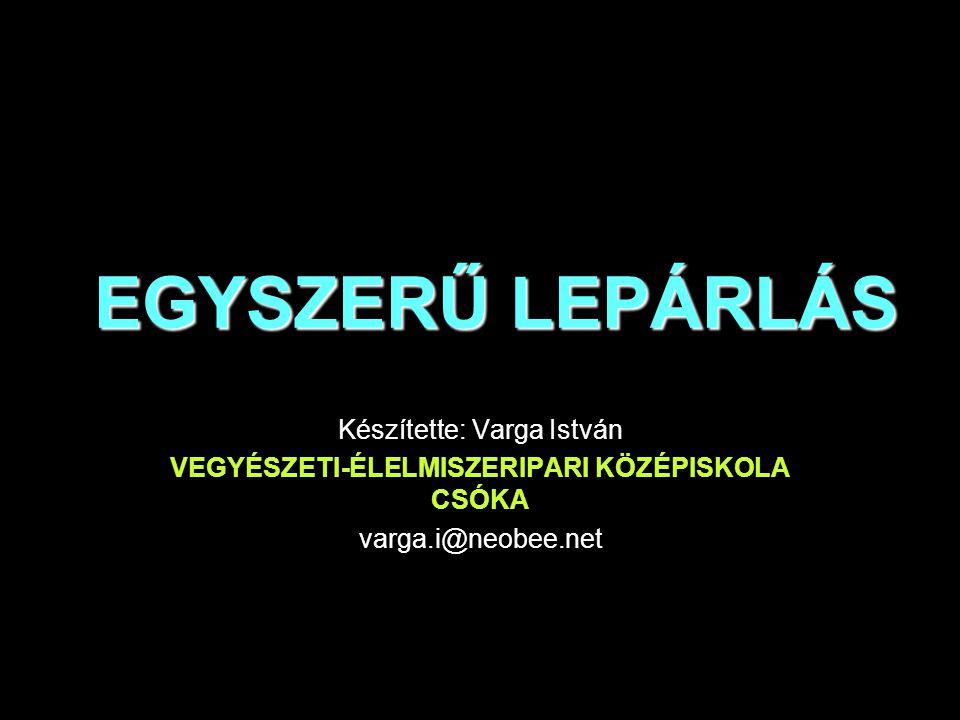 EGYSZERŰ LEPÁRLÁS Készítette: Varga István VEGYÉSZETI-ÉLELMISZERIPARI KÖZÉPISKOLA CSÓKA varga.i@neobee.net