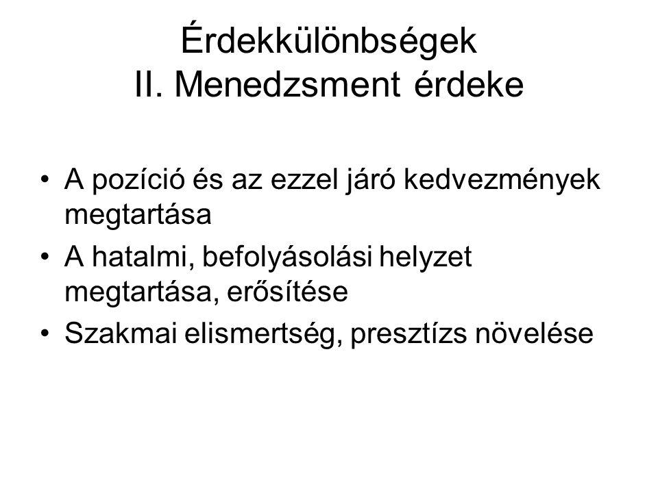 Érdekkülönbségek II.