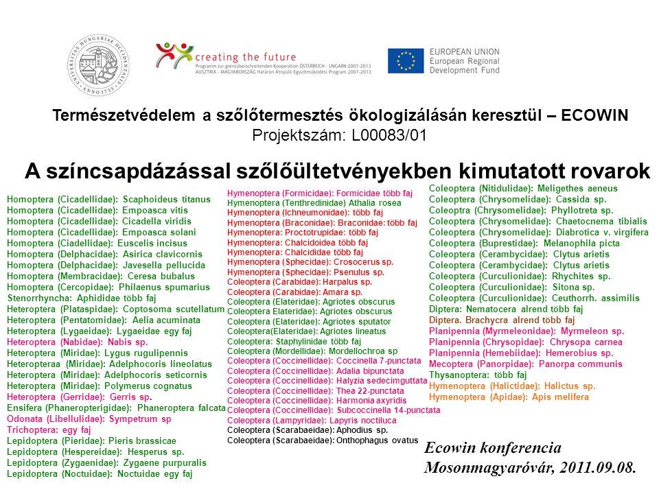 Természetvédelem a szőlőtermesztés ökologizálásán keresztül – ECOWIN Projektszám: L00083/01 Ecowin konferencia Mosonmagyaróvár, 2011.09.08. A színcsap