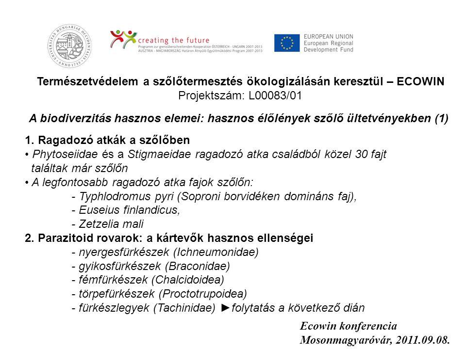Természetvédelem a szőlőtermesztés ökologizálásán keresztül – ECOWIN Projektszám: L00083/01 Ecowin konferencia Mosonmagyaróvár, 2011.09.08. A biodiver