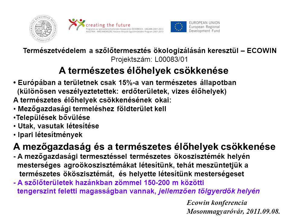 Természetvédelem a szőlőtermesztés ökologizálásán keresztül – ECOWIN Projektszám: L00083/01 Ecowin konferencia Mosonmagyaróvár, 2011.09.08. • Európába